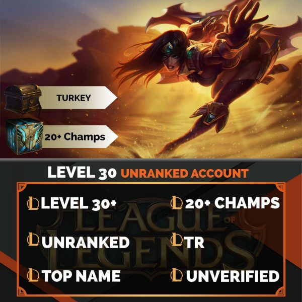 Turkey LoL Account 20+ Champions TR