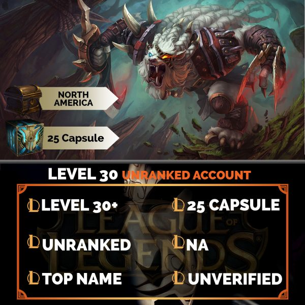 League of Legends Account 25 Capsules on server North America NA