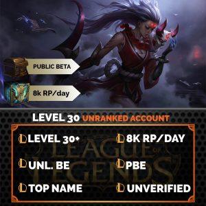 League of Legends Account on server Public Beta Environment