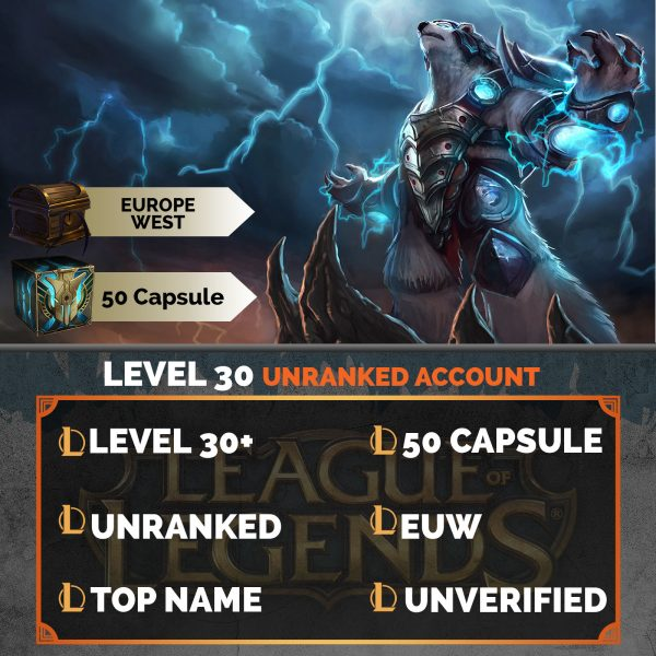 League of Legends Account 50 Capsules on server Europe West EUW