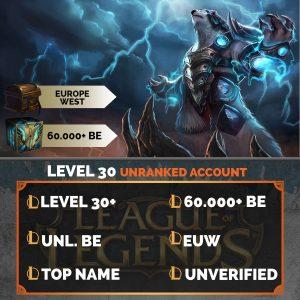 Europe West LoL Account 60.000+ Blue Esssences EUW