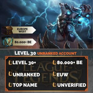 Europe West LoL Account 80.000+ Blue Esssences EUW