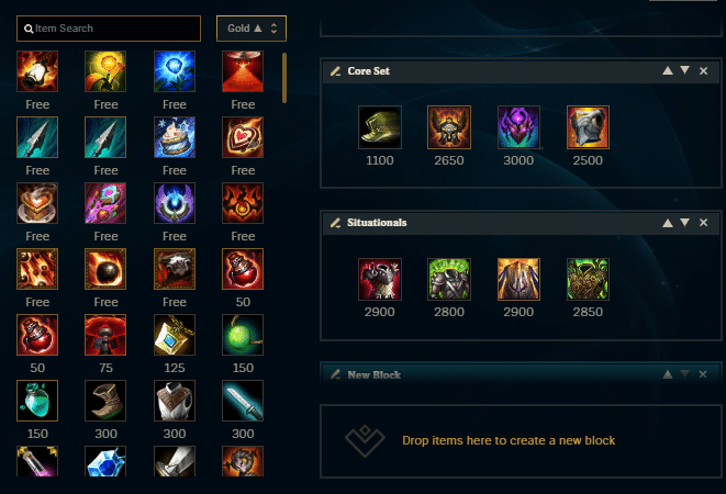 League of Legends items personalization page