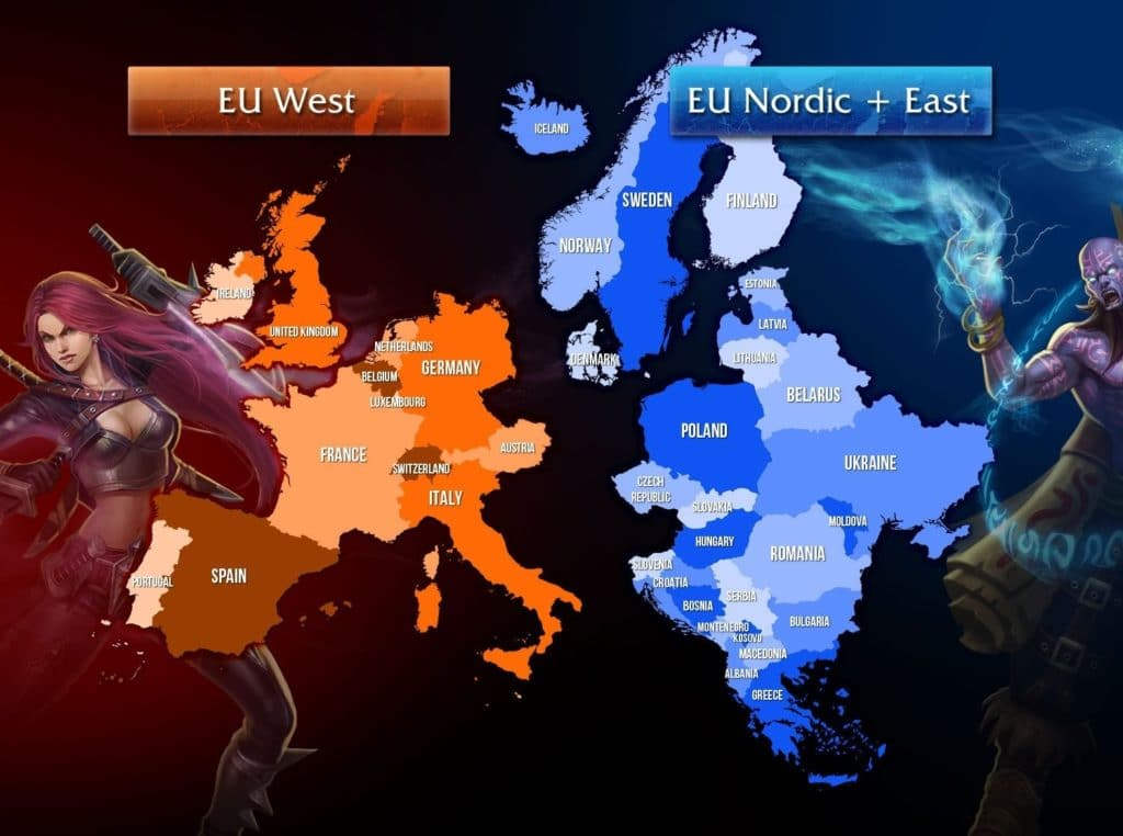 A complete map of the EUW and EUNE player base map by country