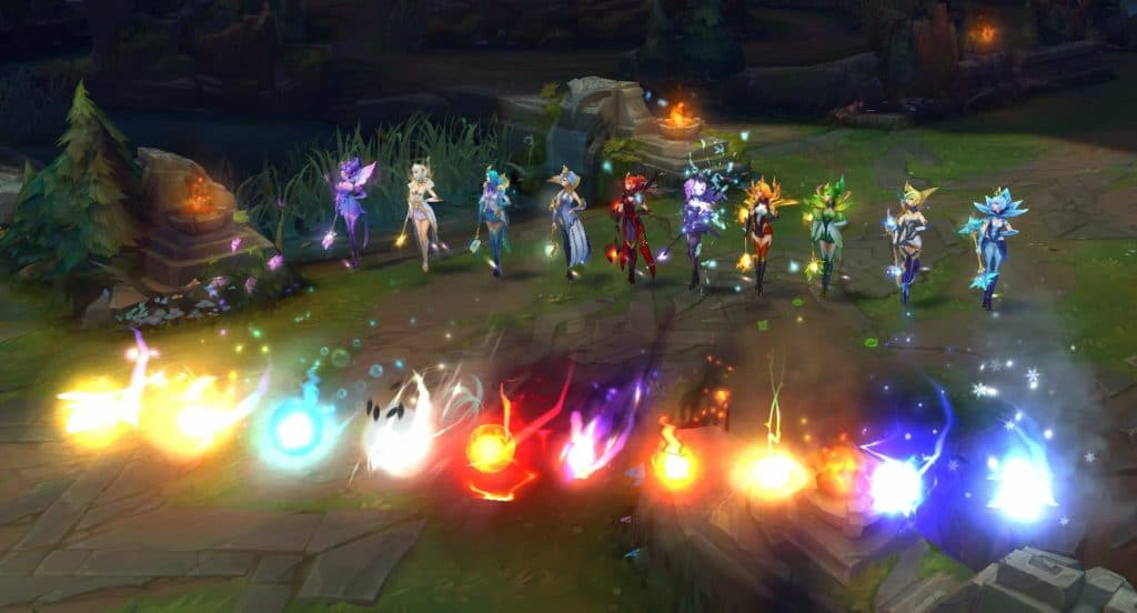 all versions of elementalist lux firing off her q simultaneously