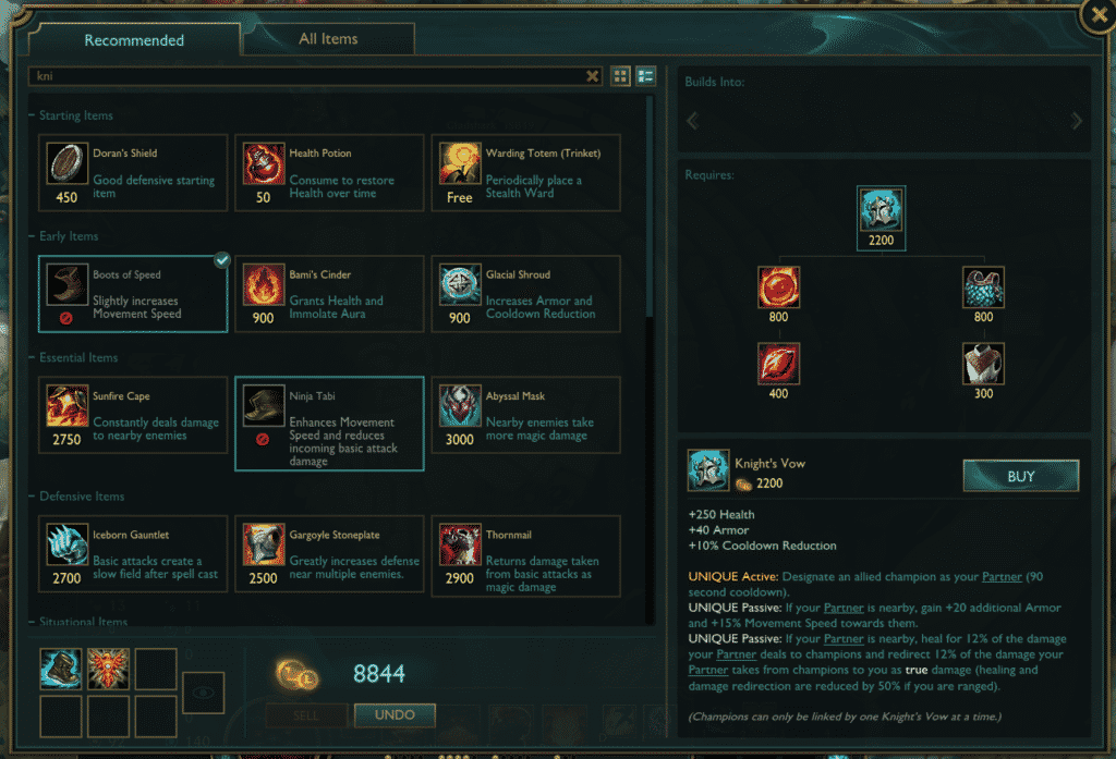 Knight's Vow item build path underrated lol items