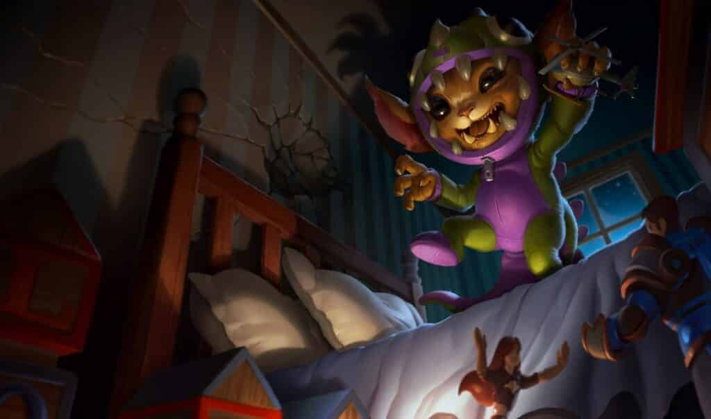 Gnar wearing a dinosaur onesie trying to look scary
