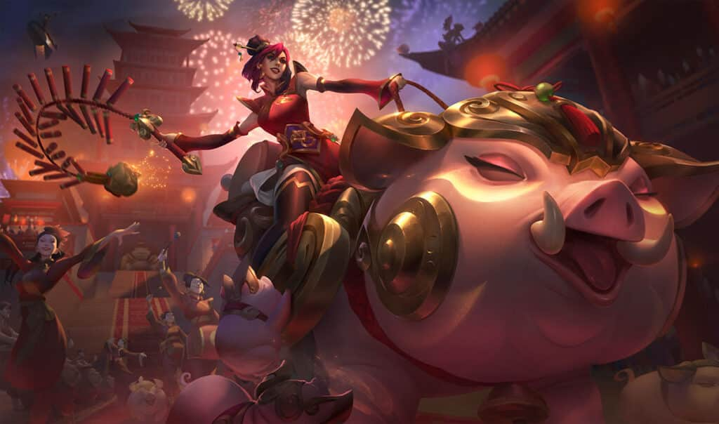 Eastern-style Sejuani riding a fortune pig
