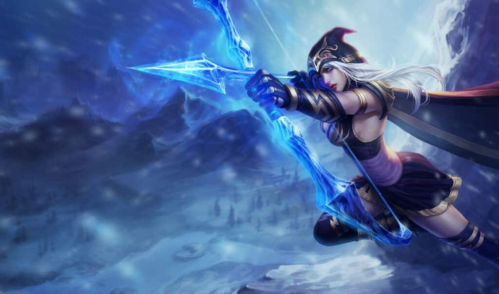 Ashe and her frost bow in a frozen tundra