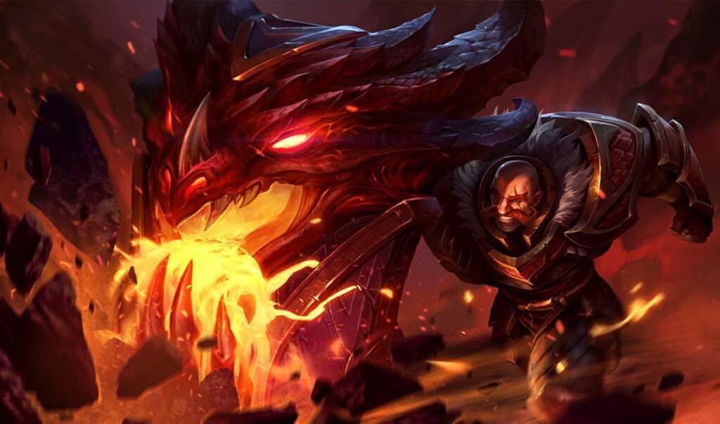 Braum weaing dragonslayer armor shielding against dragonfire