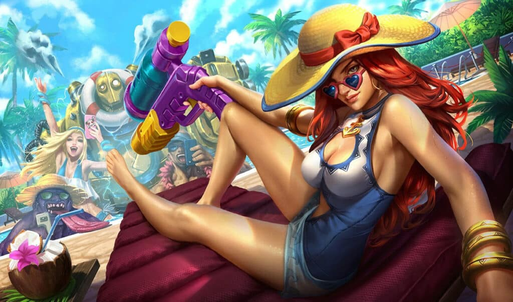Miss Fortune chilling beside the swimming pool
