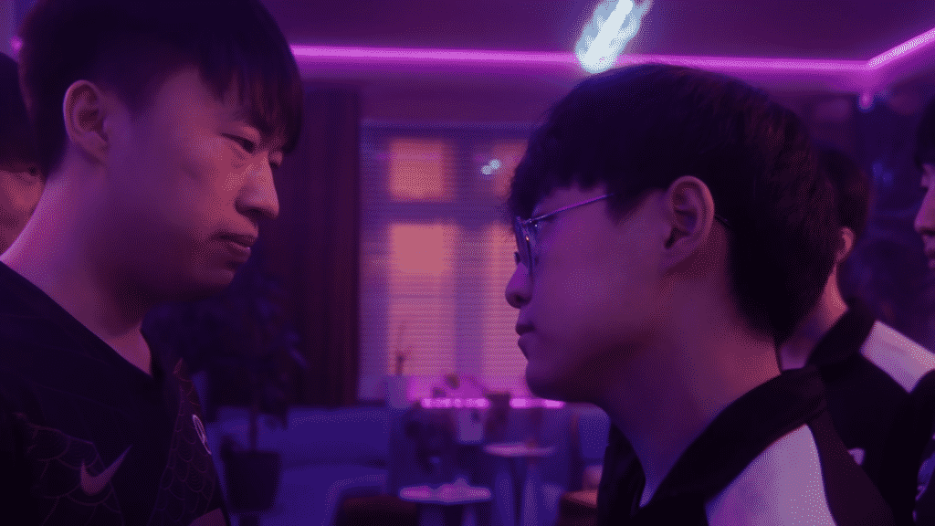 RNG Xiaohu and DK Showmaker staring each other down
