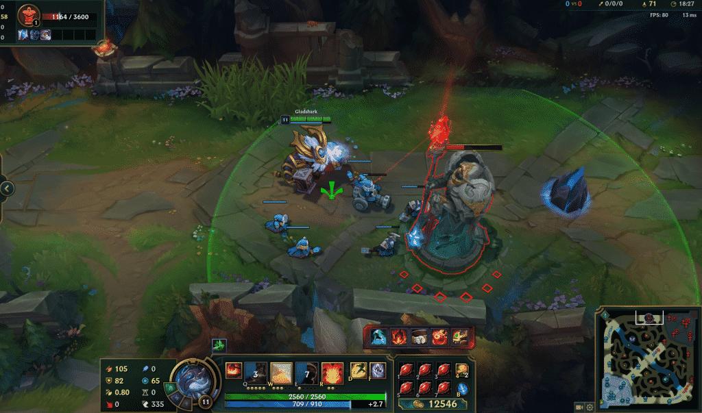 Ornn hitting the enemy turret