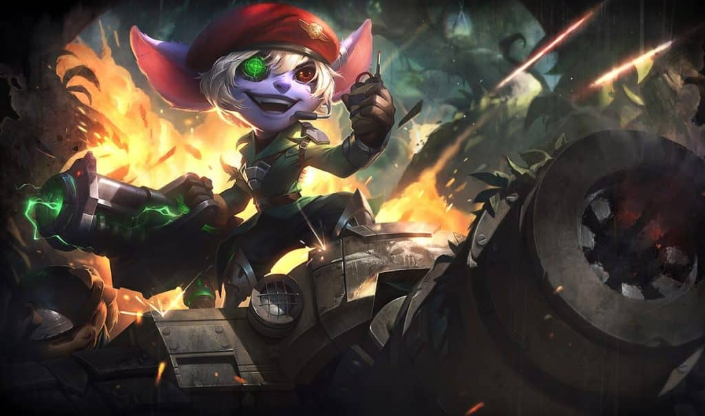 Tristana wearing a rugged war outfit