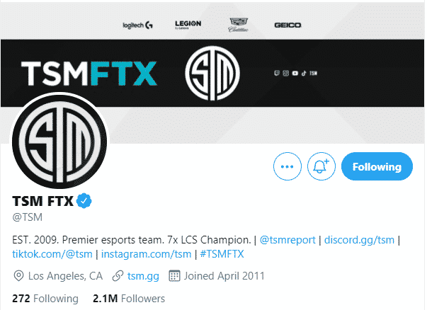 TSM FTX's official Twitter Page Banner